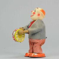 #Antique Tin Toy# Clockwork Drumming Clown Japan Japanese