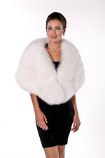 Womens Real Fox Fur Cape Wrap Natural White