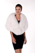 Womens Real Fox Fur Cape Wrap Natural White