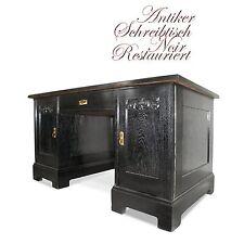 Antiker Schreibtisch restauriert, Büro Tisch schwarz Antiquität für Herrenzimmer