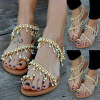 Women Boho Pearl Sandals Ladies Summer Holiday Beach Party Rhinestone Flat Shoes