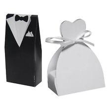 100 PCS DRESS & TUXEDO BRIDE GROOM WEDDING FAVOR FAVOURS RIBBON CANDY TABLEBOXES