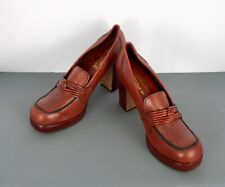 Sz 10 B Auth 1970s Women'S Vtg. Leather Platform High Heels Cordovan Loafers