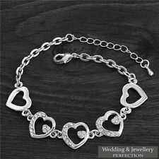Crystal Tennis Bracelet Charm Bangle Silver Bridal Jewelry Bridesmaid Gift Heart