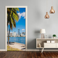 Self adhesive Door Wall wrap removable Peel & Stick Decal Architecture Miami