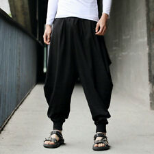 Mens Baggy Hakama Linen Trousers Casual Elastic Waist HAREM Large Lantern Pants Black 5xl