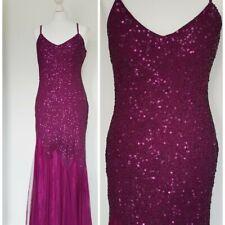 Vintage 80s Purple Sequin Strap Evening Gown Dress Size 10-12