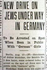 1935 newspaper HOLOCAUST Nazi Germany forbids Jews to marry German women JUDAICA