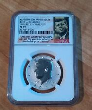 2014-W KENNEDY SILVER HALF DOLLAR HIGH RELIEF REVERSE PROOF 50TH NGC PF69
