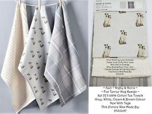🐶 Next Digby Doris Fox Terrier Pet Dog Lover Tartan Tea Towels Gift Set Bundle