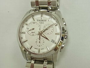 Men's Watch TISSOT GMT Quartz Silver White Stainless Steel USED
