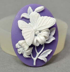 BUTTERFLY CAMEO silicone mould cupcake chocolate polymer clay resin fimo mold