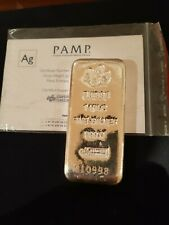 1 Kilo PAMP Suisse Silver Cast Bar - as new with Certificate of Authenticity