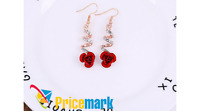 Beautiful Rose Crystal Dangle Earrings Set Drop Jewelry Flower Red Gold New