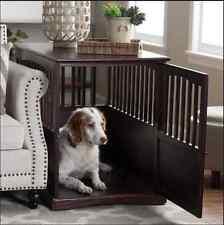 Wooden Dog House Indoor Doghouses Kennel Wood End Table Pet Cat Furniture Den