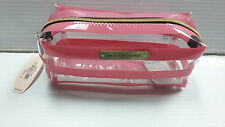 VICTORIA'S SECRET CLEAR PINK STRIPED SMALL MAKEUP COSMETIC PENCIL CASE