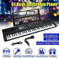 Black Electronic Keyboard Digital Piano inc Microphone 61 Key Teaching Modes