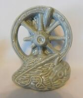 Vintage McCoy Ceramic Blue/Gray Wagon Wheel Vase/Home Decor