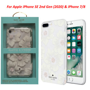 Kate Spade Case For iPhone SE 2nd Gen & iPhone 7/8 Hollyhock Floral Clear/Cream