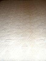 Vintage Chenille Bedspread Open Weave Off White 74 x 104 Scalloped Edge