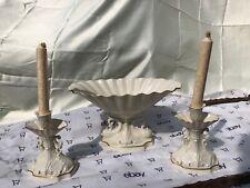Set Of 2 Lenox Scalloped Candle Holders & pedestal Fruit dish