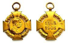 Medaglia Francesco Giuseppe I – Imperatore D'Austria 1848-1908 Metallo Dorato