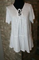 Harlowe & Graham White Short Sleeve Cold Shoulder Tie Collar Tunic Top SZ S