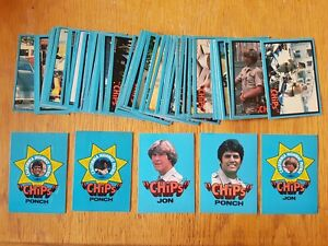 CHiPs TV Show Donruss Card Set 1979 56 (out of 60) Cards + 5 (out of 6) Stickers
