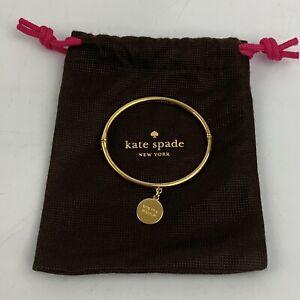 "Kate Spade New York Gold Tone 7"" Hinge Bracelet ""One in a Million"" ""I"" Dangle"