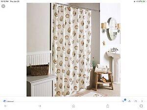 Seashells Fabric Shower Curtain, Brown N Tan Neutral Shades