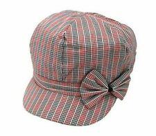 Cotton Mix Light Summer Baker Boy Bow Bonnet Cap Women's Hat Red & Blue Checked