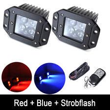 2X Red/Blue Dual Color Flush Mount LED Work Light Pods Strobe & Wiring Harness