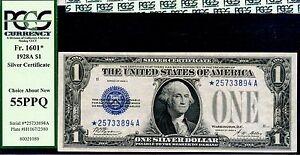FR-1601* - 1928-A $1 S/C (( Blue Seal - STAR )) PCGS 55 PPQ # *25733894A-