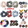 1-100 Pack Hair Scrunchies Velvet Scrunchy Bobbles Elastic Hair Bands Holder UK