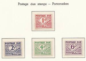 Rhodesia & Nyasaland: 1961.  Postage Due Set.  SG: D1 - D4