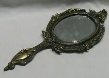 Miroir Face À main ancien en bronze laiton miroir biseauté Art Nouveau