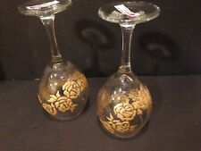 Hand Painted Wine Glass GOLD FLOWER Dishwasher Safe Set of 2