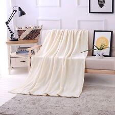 "Luxury Flannel Velvet Plush Throw Blanket – 50"" x 70"" (Ivory) by Exclusivo Mezcl"