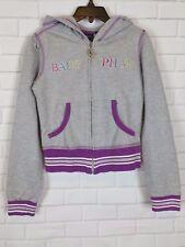 Baby Phat Girls Gray & Purple Hoodie Zip Up Sweatshirt Cotton Blend Kids Size M