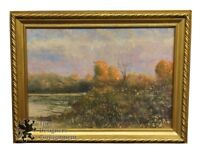 Vintage 1935 Realist Abstract Landscape Painting on Canvas Fall Lake Woods Frame