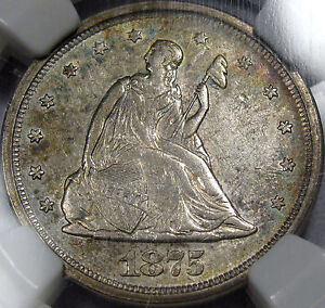 1875-S U.S. Twenty Cent Piece NGC Choice AU-55   Flashy, Original, & Super NICE!