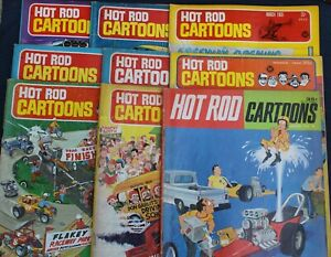 VINTAGE LOT OF (9) HOT ROD CARTOONS COMIC MAGAZINE 1965 1966 1969 Car Toons