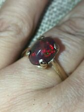 Natural solid Black precious rainbow Red Fire Opal ring 9ct gold size M 6.5 vtg