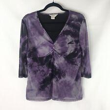 Christopher & Banks Petite Women's PL Purple V Neck Layered Sheer Sleeve NWOT