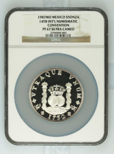 1987Mo Mexico Silver 5oz 14th Numismatic Convention NGC PF67UC