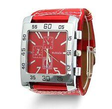 Men's New Big Dial Square Face Sports Wrist Watch Analog Leather Strap Quartz