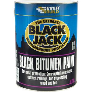 Everbuild 901 Black Bitumen Paint 1L Litre Black Jack Weatherproof Waterproof