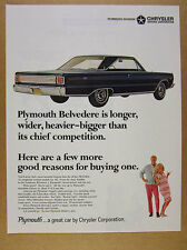 1966 Plymouth Belvedere Satellite blue hardtop coupe photo vintage print Ad