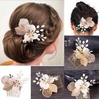 Bride Bridesmaid Crystal Jewelry Diamante Hair Comb Piece Clip Slide for Wedding