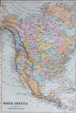 1887 ANTIQUE MAP NORTH AMERICA UNITED STATES MEXICO DOMINION of CANADA GREENLAND